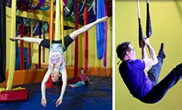picture of people doing aerial yoga