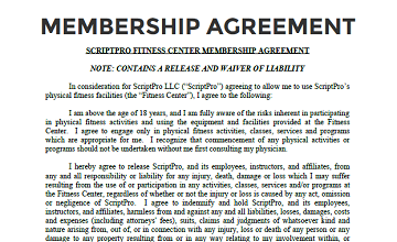 Membership agreement form